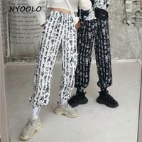 NYOOLO estilo Harajuku streetwear harem pants casuais Primavera Outono letras impressão elástico na cintura tornozelo-comprimento calças mulheres / homens C18111301