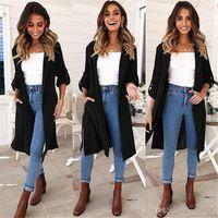 2019 nouvelle mode casual automne hiver mi longue tranchée manteaux femmes pardessus porter des mélanges mélanges S - XLcm FS5891