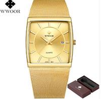 Новый WWOOR Мень водонепроницаемый золотые часы Мужские кварцевые спортивные часы Мужской из нержавеющей стали Часы Relogio Мужчина для