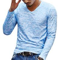 2018 NUEVA Camiseta de Los Hombres de Moda Casual de Manga Larga Delgada de Los Hombres Blusas Básicas Camisetas Summer Stretch T-shirt Mens Clothing Chemise Homme