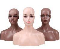Femme réaliste en fibre de verre factice Mannequin Tête buste pour perruques de dentelle Maquillage d'affichage double épaule Modèle tête