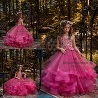 2019 Cute Fuchsia Girl' s Pageant Dresses Ball Gown Hand...