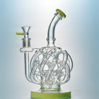 Super Vortex Glass Bong DAB RUG Cookahs Tornado Cyclone Recycler Rects 12 ReciLerers Tube Water Pipe 14 мм Соединенные бонги с запечаткой