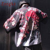 Zongke الأزهار كيمونو صوفية للرجال طويل الكارب والكرز طباعة كيمونو صوفية للرجال اليابانية التقليدية 2018 صيف جديد