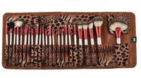 24pcs kit de pinceaux de maquillage avec sac professionnel brosse à dents souple base de brosse ensembles de maquillage avec léopard PU étui en cuir brosses ovales