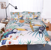 Toucan Duvet Cover With Pillowcase Tropical Plant Pineapple ...