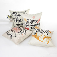 Housse de coussin en lin de coton Happy Thanks Giving Day Taie d'oreiller imprimée pour canapé Car Home Decorative