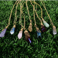 designer jewelry Handmade Rainbow Wire Wrapped Raw Natural Stone Women Pendant Necklace Amethyst Pink Quartz Crystal Gem Necklaces