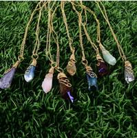 gioielli fatti a mano Arcobaleno Filo Avvolto Ametista Collana grezzo di pietra naturale Le donne di colore rosa del cristallo di quarzo della gemma collane