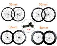 700C 도로 자전거 탄소 바퀴 powerwayR36 허브, UD / 3k 무광택 마무리와 25mm 너비 38 / 50 / 60 / 88mm 깊이 clincher / 관형 탄소 wheelset 바퀴