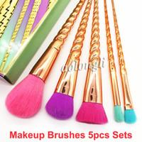 Make-up Pinsel Set 5pcs helle Farben Rose Gold Pinsel Spiral Schaft Professionelle Make-up Schönheit Pinsel Werkzeuge Contour Gesicht Bürsten