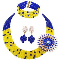 Costume Royal Blue Yellow Crystal Romantic Women Jewelry Set...