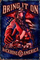 Lucha contra incendios Backbone of America Retro Metal Sign Vintage Craft Cartel de chapa Retro Metal Pintura Poster Bar Pub Wall Art UV285