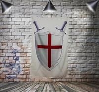 Maçonnique Chevalier Templier Drapeau Bannière Polyester 144 * 96cm Accrocher au mur 4 œillets Drapeau Personnalisé décoration intérieure Épée Bouclier
