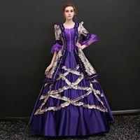 2021 Lavanta Marie Antoinette Elbiseler Yarım Kollu Kare Yaka Ruffles Çiçekler Baskılı Desen Ortaçağ Rönesans Peroid Elbise