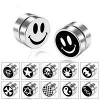 Emoji Star Skull Superman Stainless Steel No Hole Magnet Ear...