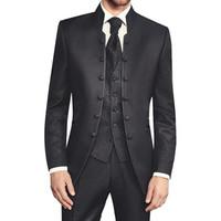 Black Wedding Groomsmen Tuxedos пикированного отворота в трех частях Лучшие мужские костюмы 2018 пользовательские сделанные однобортный куртка брюки жилет