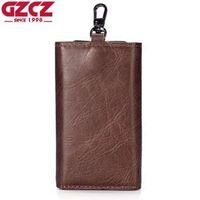 GZCZ Echtes Leder Schlüsselmappe Männer Halter Keychain Tasche Geldbörse Reißverschluss Design Geldbörse Tasche Cash Walet Mann Slim Vallet Frauen