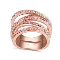 Moda Rose Gold Cor Anel Com Cristal De Swarovski Anéis De Luxo Para As Mulheres Jóias Presente do Dia das Mães