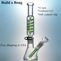 Grátis 11 Inch Freezable taça Bong Difuso Downstem Tubo Reto Construir um Rig Bong Vidro Oil Água Dab Condensador da bobina Bongs ILL04-