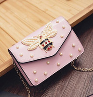 hot The new female bag honeybee vintage pearl European and A...