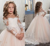 Blush Pink Flower Girls Dresses Per Matrimoni Maniche lunghe Pizzo Appliques 2018 Arabo Ball Gown Birthday Girl Comunione Pageant Gown