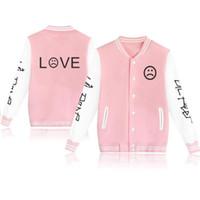 Moletom Lil Peep LOVE 야구 유니폼 재킷 코트 남자 하라주쿠 스웨터 겨울 패션 힙합 양털 핑크 까마귀 Outwear