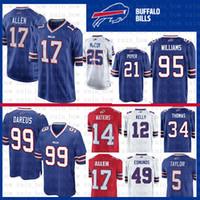 58670bd2a Cucito Jersey Buffalo Bills 17 Josh Allen 49 Tremaine Edmunds 12 Jim Kelly  95 Kyle Williams