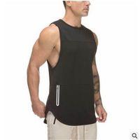 جديد الاتجاه رجل أكمام تانك القمم الصيف طباعة سترة الذكور للذكور جمنازيوم كمال الاجسام undershirt ملابس اللياقة البدنية