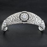 Роскошные австрийские кристаллы CZ Меган принцесса свадебная тиара Корона аксессуары для волос невесты Серебряный оголовье Fshion ювелирные изделия