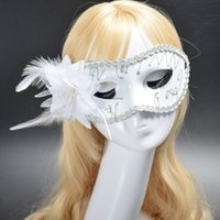 Saling caldo Squisito mistero Masked Girl Piuma Painted Mask Masquerade Natale Halloween Birthday Party Accessories 2PCS / LOT