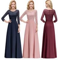 Yeni Ucuz Tasarımcı 3/4 Uzun Kollu anne Gelin Elbiseler Dantel Üst Scoop Boyun Kat Uzunluk Örgün Akşam Parti Balo elbise CPS1071
