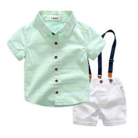 الصبي الملابس مجموعات الصيف موضة جديدة القادمين الأولاد أطفال قصيرة الأكمام trun أسفل طوق جردت قميص + شورت + حزام جودة عالية 3 قطع مجموعات