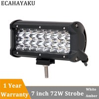 1Pcs 72W Tri- row 7inch LED Light Bar, Dual Colors with Strob...