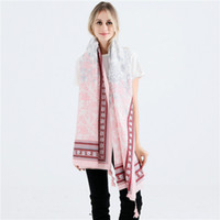 2018 New Autumn Winter Fashion Fresh Cherry Blossom Patterned Tarsus Cotton Hemp Large Long Scarfs Tassel Print Scarf Wrap Shawl