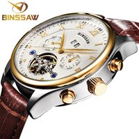 bd48f51ccbd Binssaw novos homens relógio de pulso de couro original de luxo top marca  grande moda automática