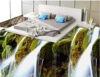Пользовательские фрески 3d пола HD-водопад пейзаж напольная плитка роспись спальни гостиная пвх водонепроницаемый износ обои стикер