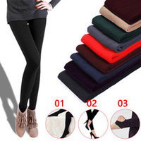 Autumn and winter single layer brushed pull pants nine pants...