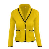 Uçan ROC 2018 kadınlar uzun kollu blazer kızlar sarı blazer casual slim feminino ofis bayan ceket suit kadın giyim