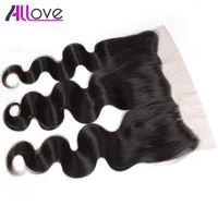 Ухо Allove 8А Бразильская Объемной волна Кружево Фронтальной 1PC перуанского волос девственницы для уха Закрытия малазийского человеческих волос Фронтальной Закрытие индийских завитых Хай