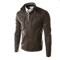 Новый вскользь тонкий Кожаные куртки людей способа кожаной куртки PU сплошного цвета Mandarin Collar Мужской пиджак с застежкой-молнией для мужчин Бесплатная доставка