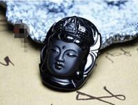 Collana con pendente Kwan-yin intagliato in ossidiana naturale al 100%