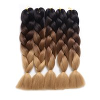 "합성 Braiding 머리카락 확장 Kanekalon Ombre Twist Braiding Hair 고온 헤어 익스텐션 5Pcs / Lot 100g / Pc 24 ""(60CM) (24"