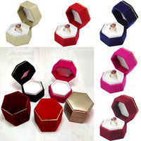 Hexagonal Caixa de Anel de Dedo Titular de Exibição de Jóias Anel De Veludo Caso Caixa De Armazenamento Recipiente Para Anel Brincos Presente de Natal 7 Cores WX9-806