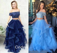 2018 Two Pieces Prom Dresses Off Shoulder Short Sleeve Sweep...