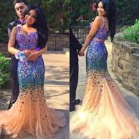 Incredibile 2 pezzi Prom Party Dress Spaghetti Traps Piano Lunghezza Personalizzato Black Girl strass Crystal Mermaid Prom Evening Dress