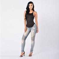 Kadın İnce Seksi Jeans Pileli Tasarım Denim Uzun Pantolon Bayan Streetwear Sıkıntılı Delikler Katı Renk Kot Uzun Pantolon Ripped