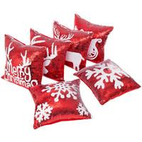 Feliz Navidad patrón rojo y blanco brillo lentejuelas fundas de cojines Throw Pillow Case Cafe decoración para el hogar funda de almohada Dropship