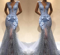 Silver Grey Lace 2018 Mermaid Prom Dresses Sexy Deep V Neck ...