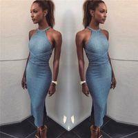 جديد مثير للمرأة الرسن الرقبة أكمام موضوع القطن bodycon جلد ضمادة فستان ماكسي طويل عارضة SML